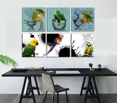 parrot home decor 3 panels birds canvas oil wall art painting colorful parrot home