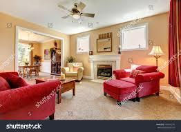 beautiful peach red living room interior stock photo 108401270