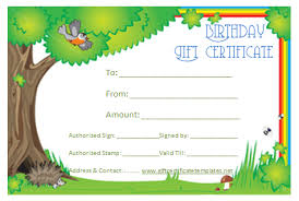 green birthday gift certificate template