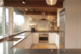 sleek gray countertops look clean and crisp against the white
