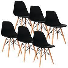 chaise 4 pieds lot de 6 chaises noir design avec 4 pieds en bois achat vente