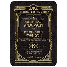 great gatsby wedding invitations deco wedding invitation black gold roaring 20s gatsby style