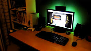 my internet gaming pc setup desk room tour 2012 youtube