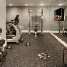 home gym overlooks backyard transitional media room