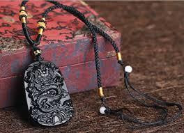black jade necklace pendant images Fine carving chinese natural black obsidian carved dragon black jpg