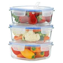 Food Storage Container Sets - kinetic gogreen glasslock elements 6 piece square oven safe glass