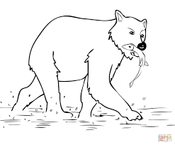 brown bear stands in shallow water coloring page free printable
