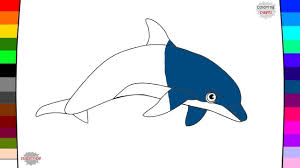dolphin coloring page name and sound learning animal for