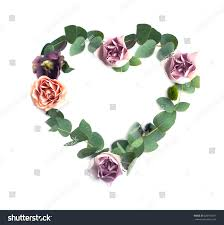 heart symbol made leaves rose flowers stock photo 629193017