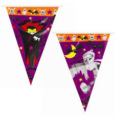 Plastic Flags 8m Haunted Halloween Bunting Plastic Flag Banner Decoration