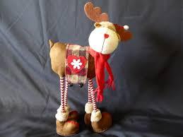 large soft standing fabric reindeer design novelty