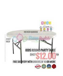 table rental 1 kids party table 2 high and 48 inches across