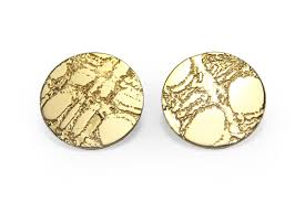 stud gold gold etched skin stud earrings lge 25mm gunn