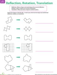transformation reflection worksheet worksheets