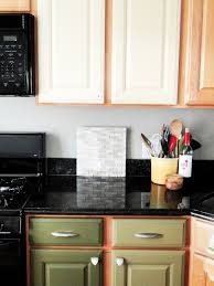kitchen brown white two toned cabinets in kitchen for light blue