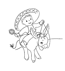 mexican baby ride mexican donkey coloring pages color luna