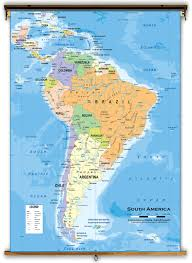 South America Map With Capitals by South America Political Classroom Map From Academia Maps