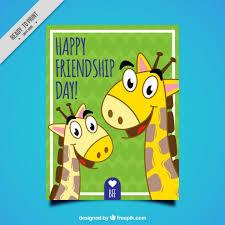 imagenes de amistad jirafas tarjeta del día de la amistad de simpáticas jirafas dibujadas a mano