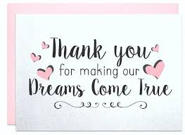 our wedding planner thank you for our dreams come true thank you card caterer