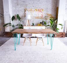 three rod hairpin leg slab dining table