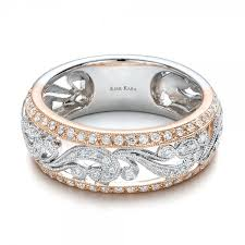 kirk kara wedding band filigree band ring two tone gold filigree and diamond womens band