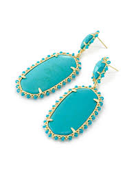 turquoise gemstone parsons gold statement earrings in turquoise kendra scott