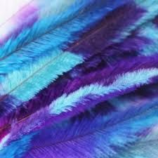 feathers for hair 10 tie dye feather extensions cruelty free turquoise purple