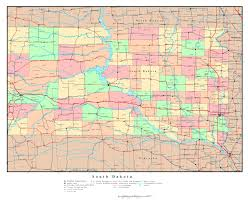 Iowa Map Usa by Large Detailed Administrative Map Of South Dakota State With Roads
