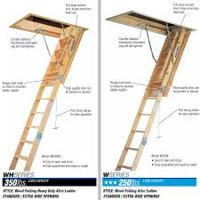 werner wooden attic ladders ceiling height 7 ft to 10 ft 4 in