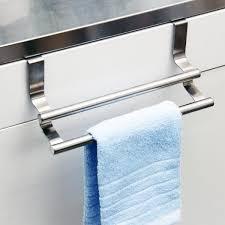 kitchen towel bars ideas extraordinary dish towel rack cabinet door with stainless steel