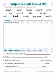 adjectives that describe you worksheet education com
