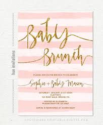 baby brunch invitations baby shower brunch invitation gold glitter pink stripes baby