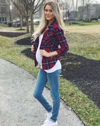 pregnancy fashion plaid button white and a and casual