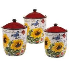 sunflower kitchen canisters country sunflower 4pc canister ceramic kitchen decor