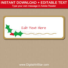 christmas holly address label template digital art star