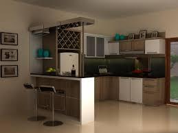 inspiring modern small kitchen design with black mini bar for