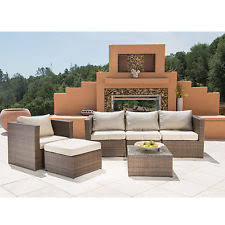belleze 6pc aluminum patio sofa pe rattan couch 2 set cushion