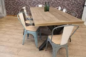 rustic oak dining table industrial steel table range peppermill interiors