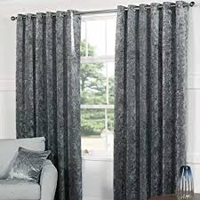Heavy Grey Curtains Plush Crushed Velvet Heavy Eyelet Curtains Two Tone Silver Grey