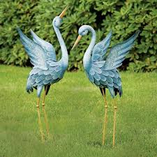 amazon com blue japanese heron statue metal garden sculpture