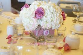 Small Centerpieces Small Centerpiece White Hydrangeas Purple Roses Square Vase