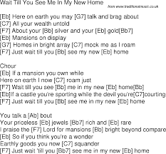 My New Home by Old Time Song Lyrics With Guitar Chords For Wait Till You See Me