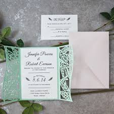 cheap wedding invitations online mint leaf inspired laser cut invitations ewws159 as low as