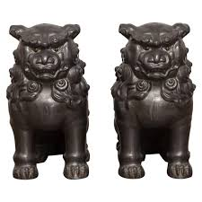 foo lions for sale pair of pewter foo dog lions at 1stdibs