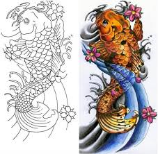 black outline koi fish tattoo design fabulous tattooshunter com