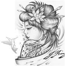 geisha hummingbird tattoo design tattoos book 65 000 tattoos