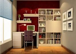 design for study room beige bookcase red wall 3d house