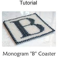peyote monogram b coaster pdf beading pattern simple bead patterns