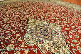Kashan Persian Rugs by Red Kashan Medallion Carpet Silk On Silk Rug Handknotted 5ft X 7ft