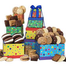 happy birthday baked goods tower by gourmetgiftbaskets